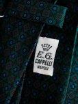 画像2: E.G.カペッリ ヘビー シルク プリント ネクタイ グリーンベース レッド&ブルー ヴィンテージパターン (2)