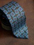 画像5: E.G.カペッリ ヘビー シルク プリント ネクタイ ブラウンベース ブルー ヴィンテージパターン
