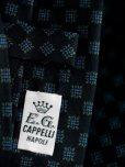 画像2: E.G.カペッリ ヘビー シルク プリント ネクタイ ブラックベース ブルー&グリーン小紋