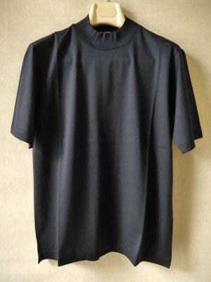画像2: MATTEOAVERSA(マッテオアヴェルサ)モックネックTシャツ シルケット加工コットン ネイビー 夏向き