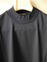 MATTEOAVERSA(マッテオアヴェルサ)モックネックTシャツ シルケット加工コットン ネイビー 夏向き