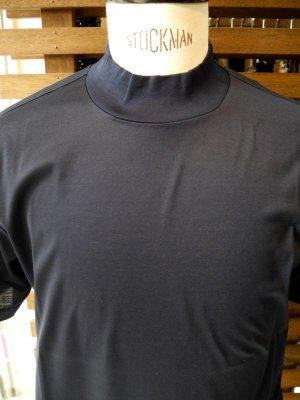 画像4: MATTEOAVERSA(マッテオアヴェルサ)モックネックTシャツ シルケット加工コットン ネイビー 夏向き