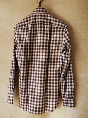 画像2: BORRIELLO (ボリエッロ)   ブラウン+ホワイト ギンガムチェックシャツ  秋冬向き