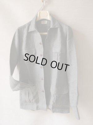 画像3: BORRIELLO (ボリエッロ) リネン ツイル 4ポケット シャツジャケット オリーブ