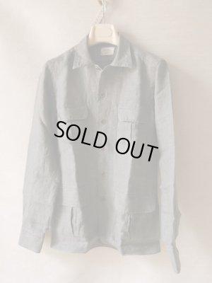 画像1: BORRIELLO (ボリエッロ) リネン ツイル 4ポケット シャツジャケット オリーブ
